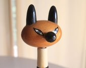 Vintage wooden cat toy by Kouvalias. Made in Greece.
