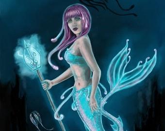 Mermaid Art Print, Deep Sea Mermaid, glow