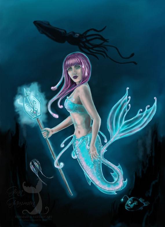 Items similar to Mermaid Art Print, Deep Sea Mermaid, glow ...