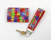 Autism Puzzle Pieces Fabric Key Fob and Card Case with Velcro Closure - 2 piece set, red yellow green blue