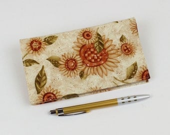 Golden Sunflowers Checkbook Cover for Duplicate Checks with Pen Holder on Ivory Cotton Fabric
