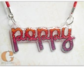 Sparkly 'Your Name' Necklace - Wearable Art, Shrink Plastic, Coloured Pencil, Personalized, Choose Your Colours - Poppy, Lily