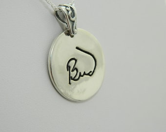 Handwriting Jewelry Personalized Pendant in Memory of  Dad Sterling Silver