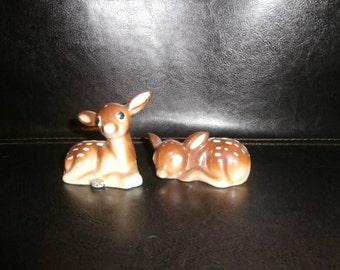 Salt & Pepper Shakers:  Baby Fawn Deer   Figurine   JAPAN