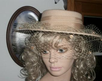 Womens Hat Vintage Women's  Tan  Wide Brim  Hat with Veil