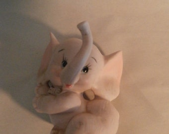 ELEPHANT : Trunk -up  Pink Porcelain Bisque Figurine  Keepsake/Mint