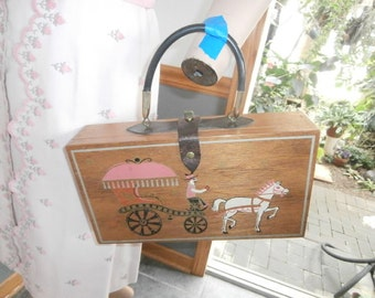 Women's Box Purse~ Horse & Buggy Wood  Box Purse~   Signed 60's GARY GAIL Dallas  Women's  Vintage Pruse