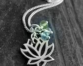 Gemstone Lotus Necklace -Rose Quartz Peridot Aquamarine  Love Courage Motivation- Yoga Jewelry- Lotus Flower charm, Lotus necklace, Pendant