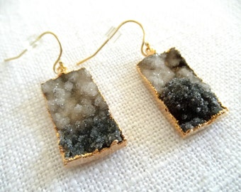 Black and White Druzy earrings -  Ombre druzy earrings - ombre earrings - gold earrings - D R U Z Y 015