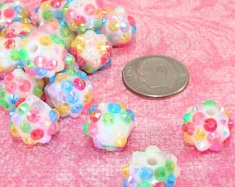 20 Rainbow 12mm Rhinestone Beads Multi Colored AB (42363) Iridescent Acrylic Disco Beads Beading Jewelry Supplies Big Hoop Earrings