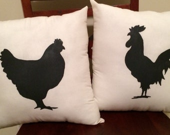 His & Hers: Hen / Rooster Pillow Set