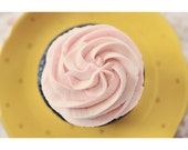 Pink Cupcake Photograph, Food Photography, Still Life, Fine Art Print, Kitchen Art, Yellow, Shabby Chic, Gift for Her