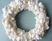 Beach Decor Seashell Wreath - Nautical Decor Shell Wreath in White, 12inch