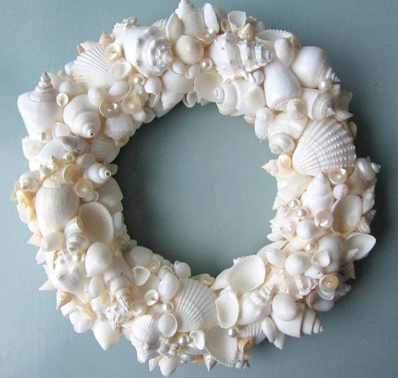 Beach decor seashell wreath nautical decor shell wreath - Shell decorations how to make ...