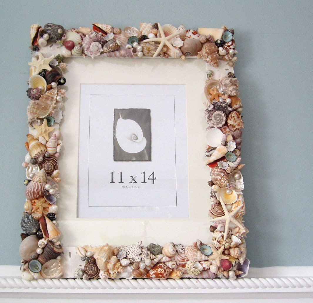 seashell wall frame beach decor shell wall frame nautical. Black Bedroom Furniture Sets. Home Design Ideas