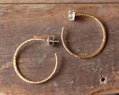 medium classic gold hammered hoops