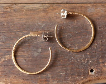 medium classic yellow gold hammered hoops
