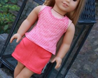 Trendy 18 Inch Doll Clothes Handmade Denim Mini Skirt and Tank Top