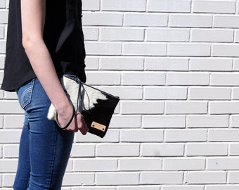 Cow Hair Leather Clutch - Black and White Leather Bag - iPadMini Wristlet - Tech Sleeve - Womens Handmade Handbags - Cow Hair Bag