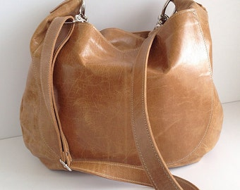 UKSANA Leather Bag Leather Hobo Bag Brown Leather