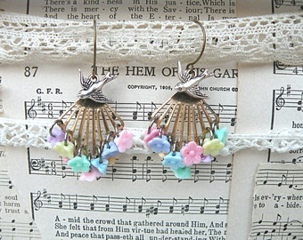 earrings pastel spring bird assemblage recycle