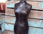 Vintage Style French Shabby Chic Mannequin Body Form Bust  Distressed shabby Black Crown