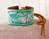 2016 Trends Leather Cuff Jewelry - Boho Gypsy Turquoise Cuffs - Southwest Hand Painted Bracelet - Wrist Tattoo Cover - Tooled Leather