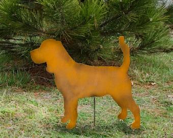 Metal beagle garden stake - handmade beagle - Beagle dog outdoor art - Rusty beagle marker - Beagle flowerbed decor - Beagle memorial stake
