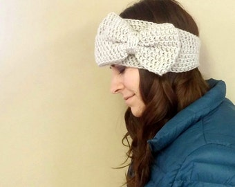 CROCHET PATTERN PDF , Crocheted  Giant Bow Headband / Earwarmer / headwrap - Women Teen DiY Christmas Gift, instant download, yarntwisted