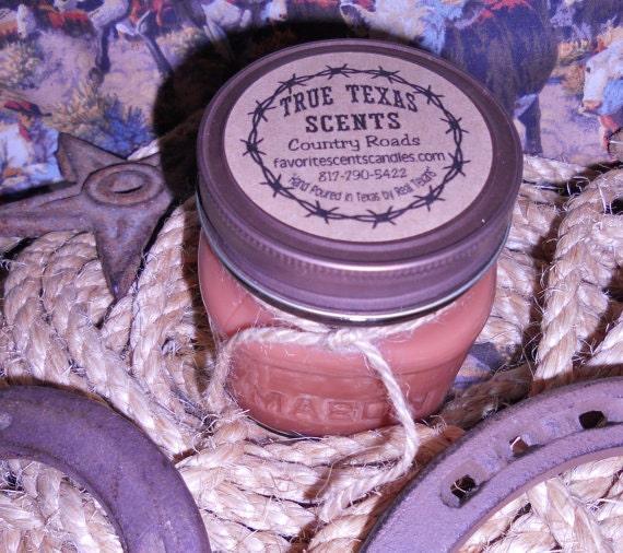 Western Pleasures (leather and cinnamon) 8 oz Square Mason Jar - NEW