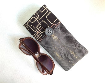 Sunglasses Case, large size glasses sleeve, gray, black and gold swirls cotton,  eyeglass cozy, soft case, gift for women