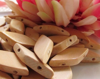 Double Drilled Flat Diamond Shaped Light Wood Beads 13mm by 29mm 8pcs