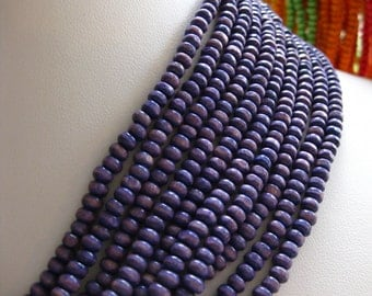 Small 3mm by 4mm Rondelle Wooden Spacer Beads in Purple 8 inches (20cm)