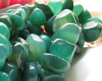 Medium Green to Dark Green Agate Nuggets Large Sized 5 inches (13cm)