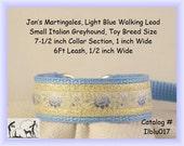 "Jan's Martingales, Light Blue Collar Leash Combination Walking Lead, Italian Greyhound, Small Dog Size, 7 1/2"" Collar Section, Iblu017"