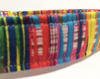 Preppy Plaid Fabric Boy Girl Dog Collar Rainbow Blue