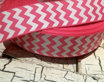 "3 yards 7/8"" Pink and White CHEVRON ZIG ZAG Grosgrain ribbon"