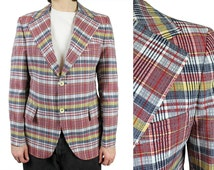 Mens Vintage Blazer 38R Red Blue Yellow Plaid Checked Jacket Coat Disco Costume Free US Shipping