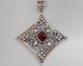 Balinese Sterling Silver Garnet gem pendant / silver 925 / Bali handmade jewelry / 2 inches long