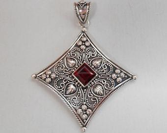 Balinese Sterling Silver Garnet gem pendant / silver 925 / Bali handmade jewelry / 2 inches long / (#612m)