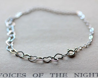 Heart Bracelet Sterling Silver Bracelet - Valentines Day Jewelry - Silver Stacking Bracelet  - Heart Love Layering Bracelet