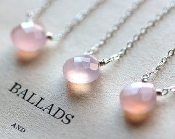 Bridesmaid Gift Bridesmaid Necklace Pink Gemstone Necklace Layered Necklace Sterling Silver Simple Necklace Bridal Wedding Gift for Her