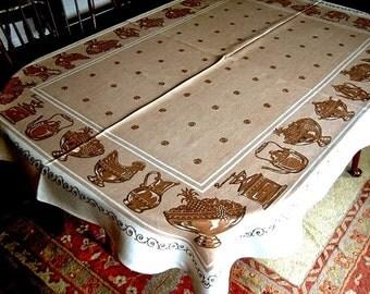 RETRO vintage NEW TABLECLOTH sailcloth Kitchen Print Large1960s sailcloth cotton