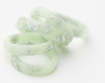 Pastel Resin Ring Lucite Green Stacking Ring Silver Flakes Faceted Ring OOAK mint green wedding jewelry minimal chic