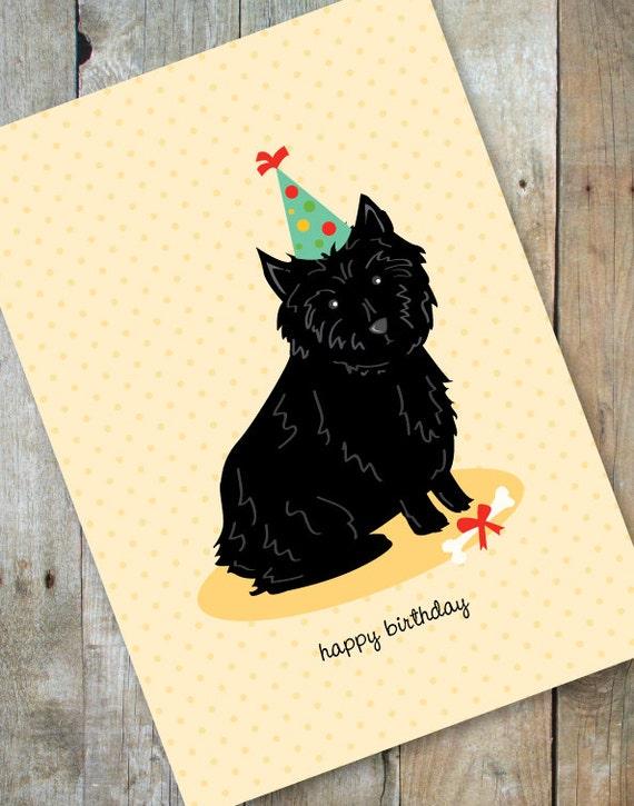 Happy Birthday Cairn Terrier Card