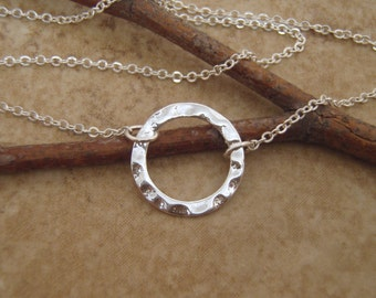 Silver circle necklace - Silver ring necklace - Bridesmaid gift - Dainty choker - Everyday necklace - Photo NOT actual size