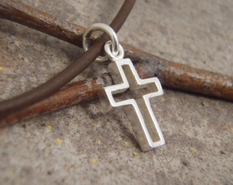 Boy's Cross necklace - Small Sterling Silver Cross on leather cord necklace - Jewelry for Boys - Photo NOT actual size