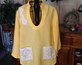 Altered Irish linen tunic/blouse, large size, buttercup yellow, embellished, recycled