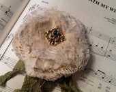 Shabby chic, tattered, lace and fabric pin/brooch/hair clip, ooak