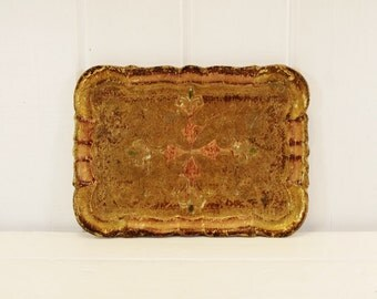 Vintage Italian Florentine Tray Gilt Pink and Green